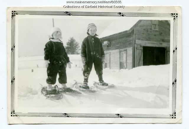 Ethlyn and Cleon Adams, Jr., Dixfield Common, 1937