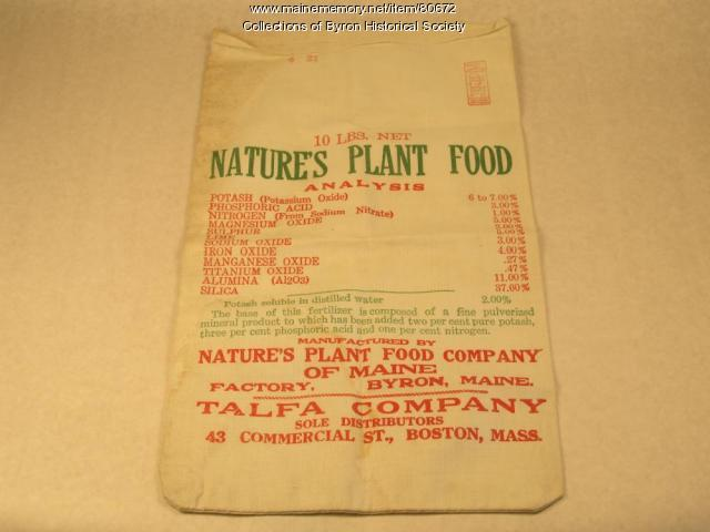 Nature's Plant Food Bag, Byron, ca. 1900