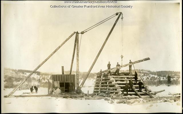 Construction of boom pier on Androscoggin River, Rumford, 1893