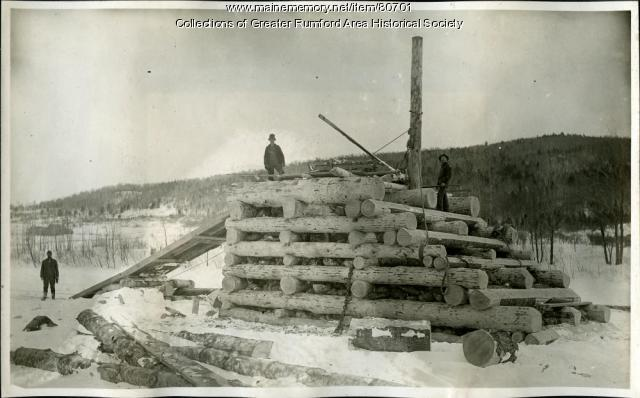 Building a boom pier on the Androscoggin River, Rumford, 1893