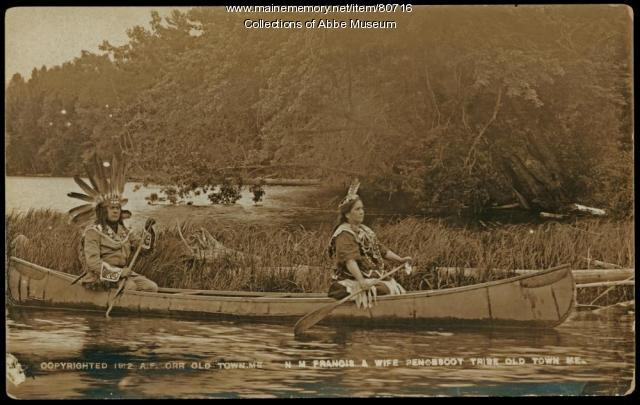 N.M. Francis and his wife in a canoe, ca. 1912