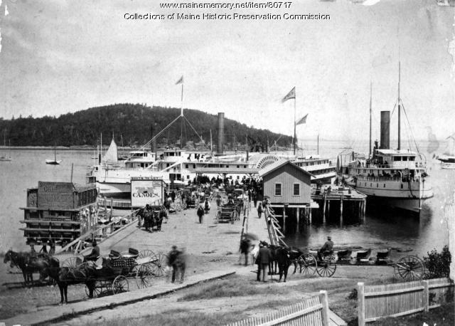 Bar Harbor steamboat landing, ca. 1885