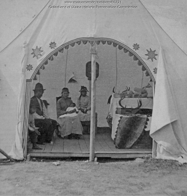Wabanaki family inside tent, Bar Harbor, ca. 1885