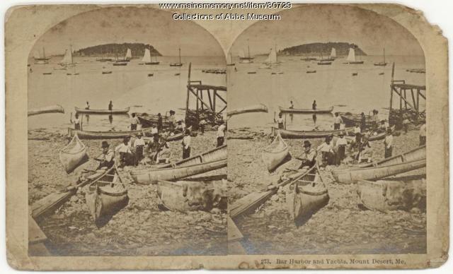 Wabanaki guides with canoes, Bar Harbor, 1881