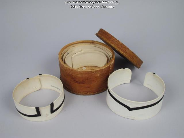 Collar box and collars, Passamaquoddy, ca. 1880