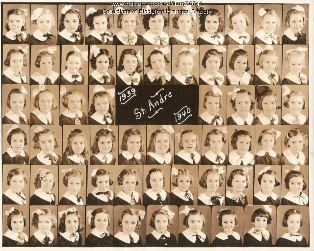Class photo of St. Andre school, Biddeford, ca. 1939
