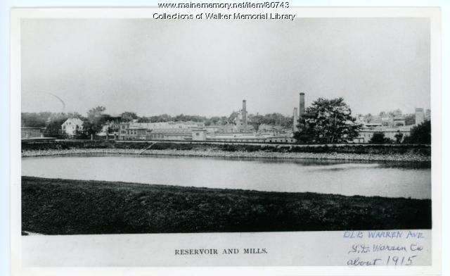 S.D.Warren paper mill and reservoir, Westbrook, ca. 1915