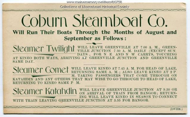 Coburn Steamboat Co. schedule, ca. 1895