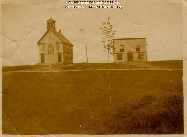 North Lubec Grammar School and Nugents Hall, ca. 1902
