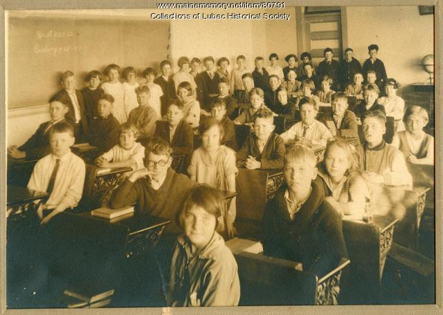 Students in school, Lubec, ca. 1920