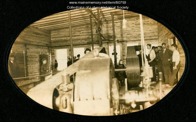 Interior of first electric generating plant, Lubec, ca. 1903
