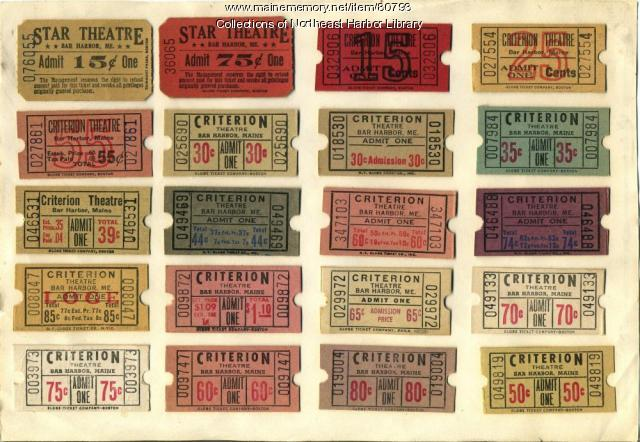 Criterion & Star Tickets, Bar Harbor, ca. 1935