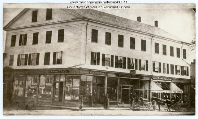 C.B. Woodman's Pharmacy, Westbrook, 1883