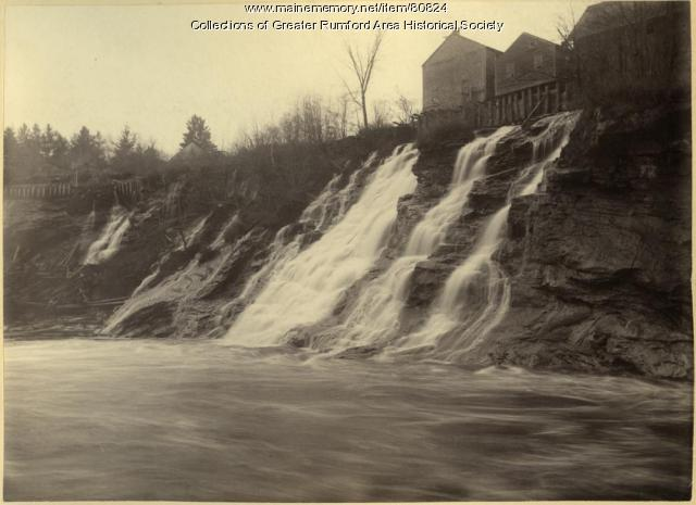 Grist and saw mills on the Upper Falls, Rumford, ca. 1895