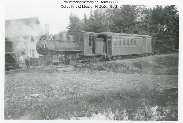 Narrow Gauge Engine at Water Street Station, Monson, ca. 1900