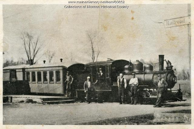 Narrow Gauge Engine Number 4 at the Monson Station, ca. 1920