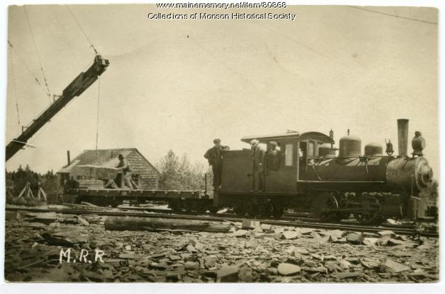Loading Slate on the Narrow Gauge, Monson, 1930