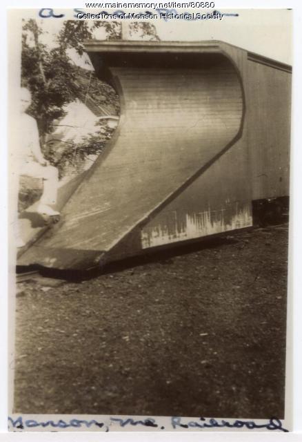 Narrow Gauge snow plow, Monson, ca. 1900