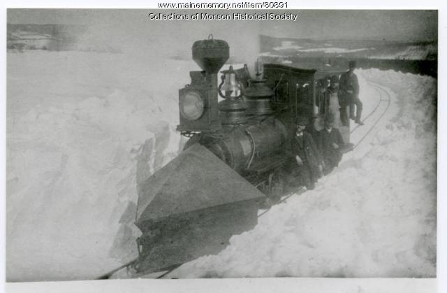 The Narrow Gauge Plowing Snow, Monson, ca. 1890