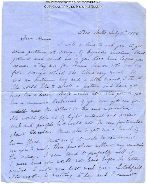 Martha Osgood letter about fabric, dresses, Bar Mills, 1862