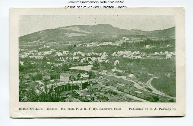Aerial view of Mexico and Ridlonville, ca. 1900