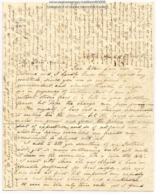 Martha Osgood letter on Portland parties, Hollis, 1853