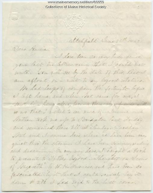 Martha Osgood on books, music, Litchfield, 1862