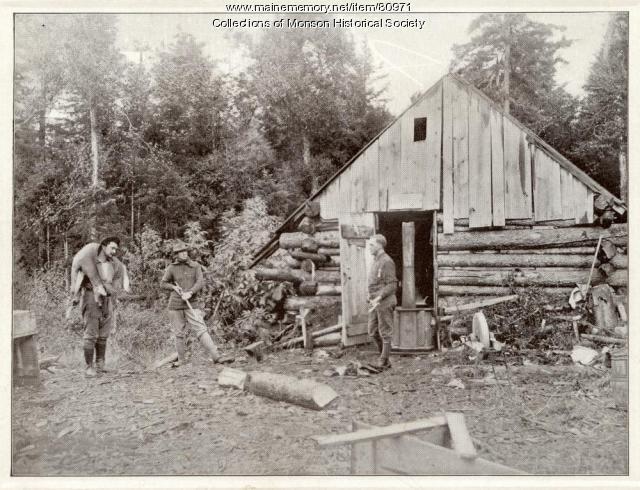 Rough hewn hunting camp, Monson 1920