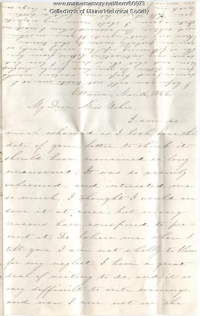 Ruth Mayhew letter to Rebecca Usher, Ottawa, Kansas, 1866