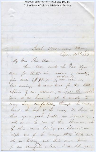 Sarah Sampson to Rebecca Usher, Bath, 1868