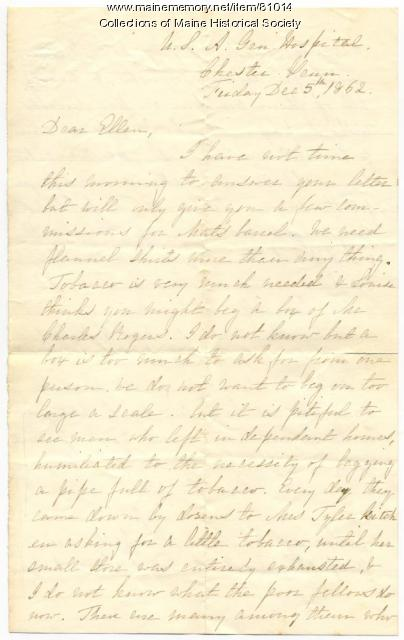 Rebecca Usher to sister on hospital needs, Pennsylvania, 1862