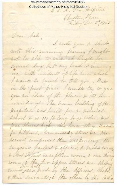 Rebecca Usher description of military hospital, Pennsylvania, 1862