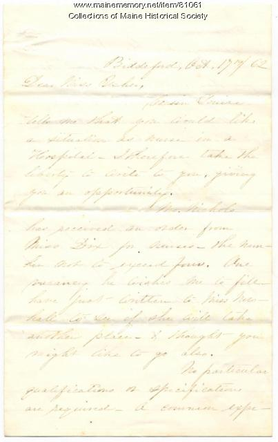 Nursing invitation for Rebecca Usher, Biddeford, 1862
