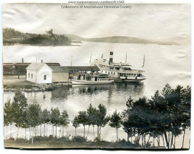 Steamer Katahdin, Greenville Junction Wharf, ca. 1910