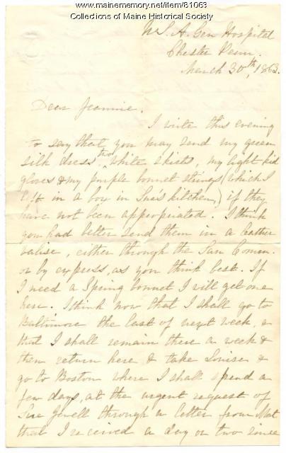 Rebecca Usher on leaving hospital job, Pennsylvania, 1863