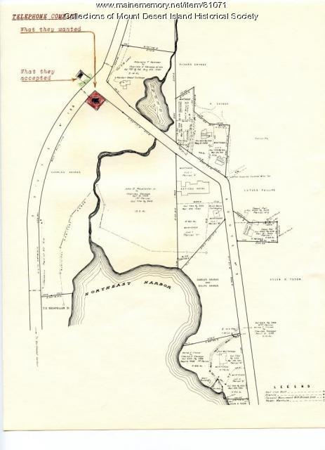 Map of Asticou Corner, Northeast Harbor, ca. 1954