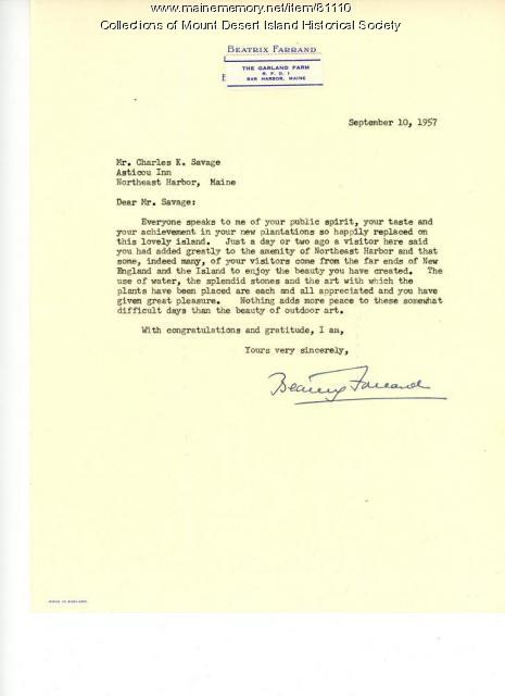 Correspondence, Beatrix Farrand to Charles K. Savage, Northeast Harbor, 1957