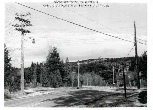 Route 198 meets Route 3, Northeast Harbor, ca. 1954