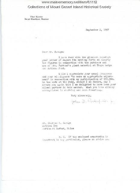 John D. Rockefeller Jr. letter to Charles K. Savage, Northeast Harbor, 1957