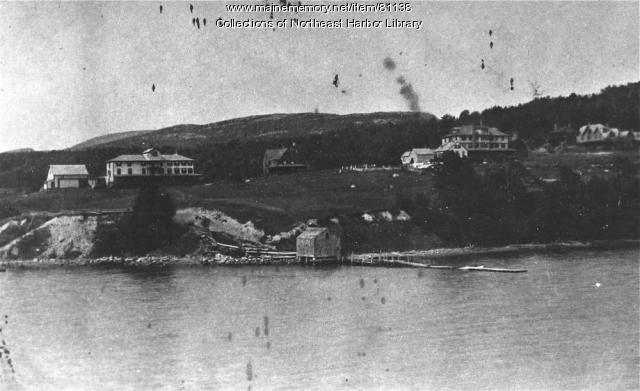 Roberts Wharf and view up to Asticou from Northeast Harbor Maine circa 1890