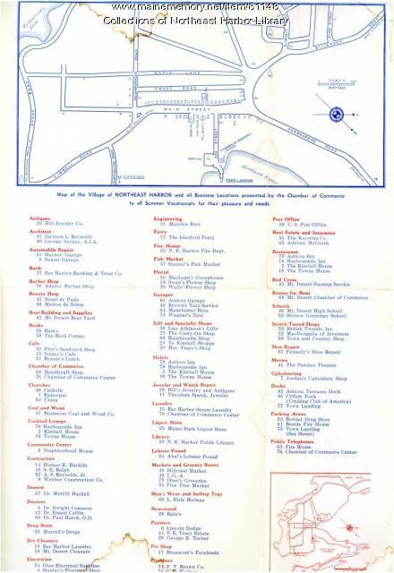 Northeast Harbor Village Map, ca. 1955