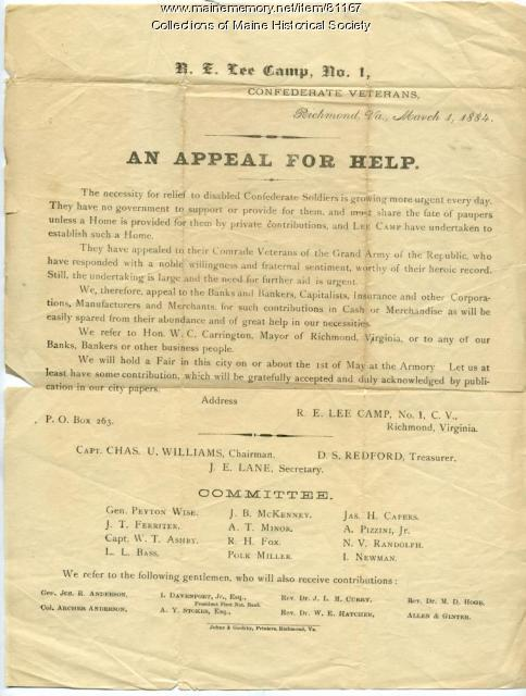 Confederate veterans plea for help, Richmond, 1884