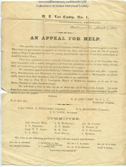 Confederate veterans plea for help, Richmond, 1884