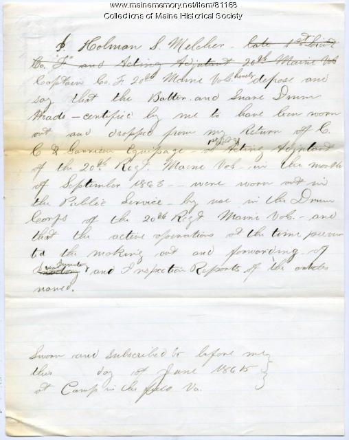 Holman Melcher certificate of condition of equipment, Virginia, 1865