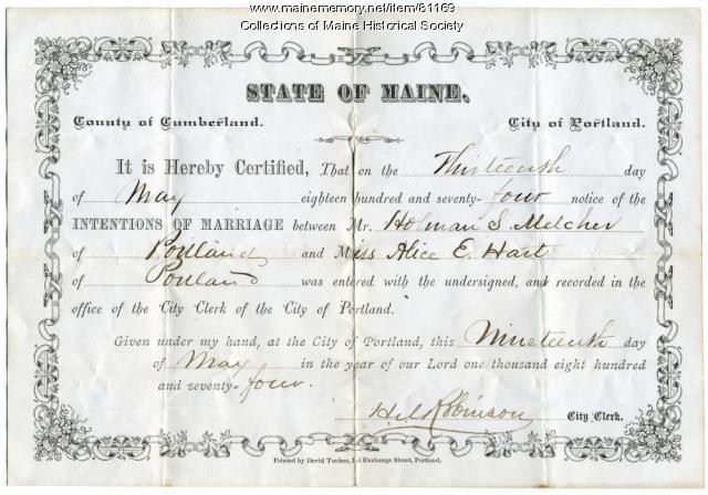Holman Melcher-Alice E. Hart marriage intentions, Portland, 1874