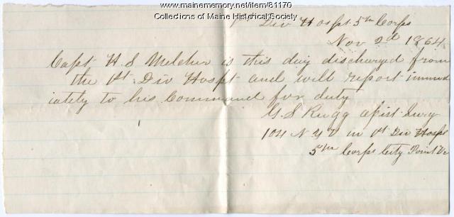 Order releasing Capt. Holman Melcher from hospital, 1864