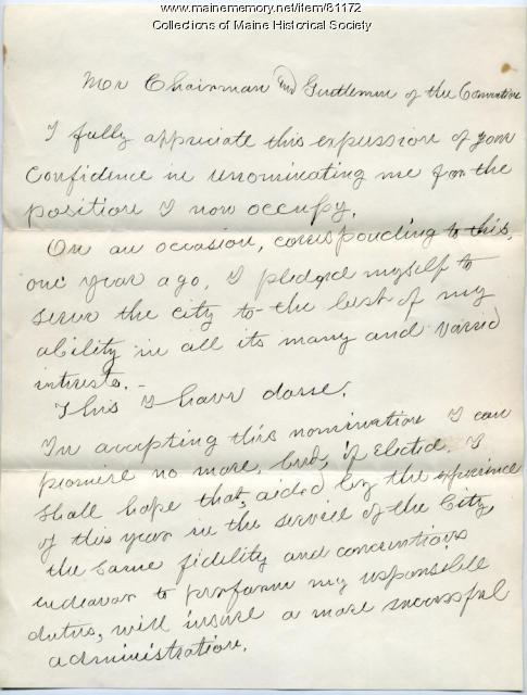 Holman Melcher mayoral address, Portland, 1890