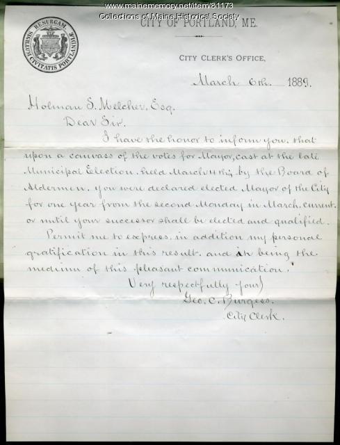Letter on Melcher election as mayor, Portland, 1889