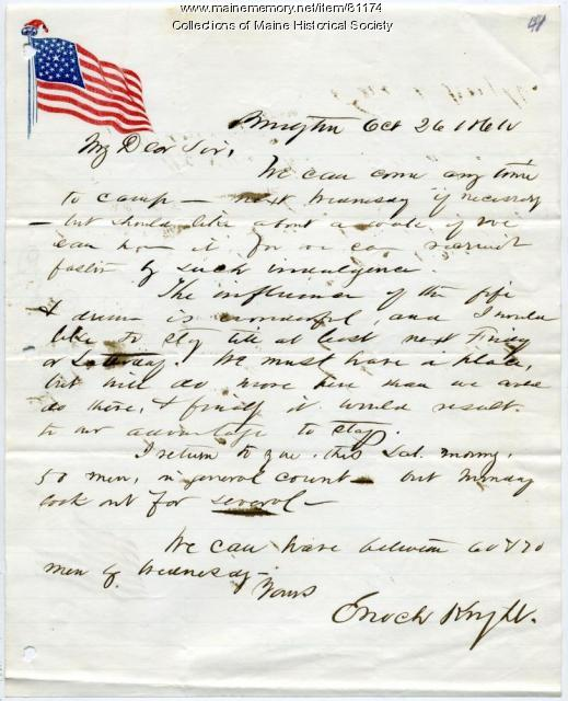 Enoch Knight letter to Col. George F. Shepley, 1861