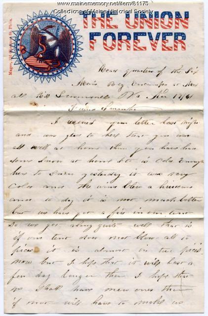 Pvt. John Stewart to Samantha Leighton, Virginia, 1861